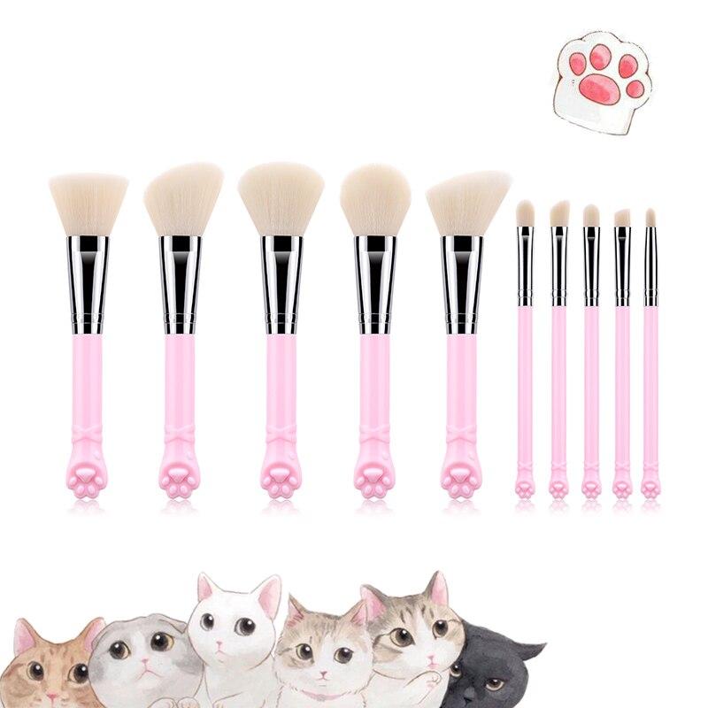 Garra gato Forma 10 Pincéis de Maquiagem PCS Jogo de Escova Bonito Kawaii Fundação Kabuki Contour Blush Brush Eyeshadow Kit Ferramenta de Cosméticos