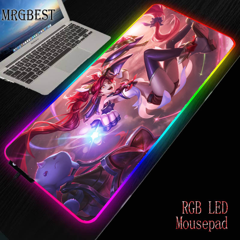 MRGBEST League Of Legends Large Lock Edge RGB LED Mouse Pad Non-slip Rubber Laptop 25X35/30 X 80 / 40X90CM FOR Game Player Mat