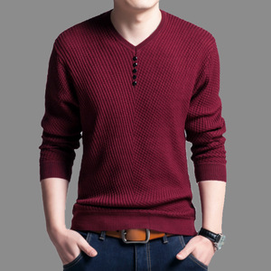 Image 2 - TFETTERS 2020 Men Sweater Casual V Neck Pullover Men Spring Autumn Slim Sweaters Long Sleeve Mens Sweater Knitted Shirt Homme