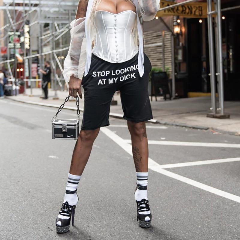 STOP LOOKIN TO MY DICK Summer Women Streetwear Short Hip-Hop Cotton Joggers High Waist Trouser Casual Loose Pants