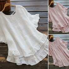 Mode Vrouwen Katoen Blouse Ruffle Shirts Zanzea 2021 Causale Korte Mouwen Effen Vrouwelijke Asymmetrische Tuniek Plus Size Blusas 5XL