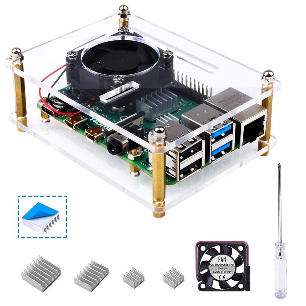 YaFex Case for Raspberry Pi 4 B with Cooling Fan and Fan Guard,4 Pcs Heat Sinks for Raspberry Pi 4 Model B