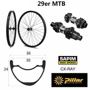 Image 5 - הרי אופני אסימטרית hookless MTB זוג גלגלי פחמן 29er XC/AM 36mm רוחב 24mm עומק עם mtb DT350S רכזת