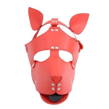 Black Red Leather Dog Bdsm Mask Bondage Restraints Cosplay Mask Costume erotic SM Slave Head Cover Harness Fetish kinky Sex Toys 3
