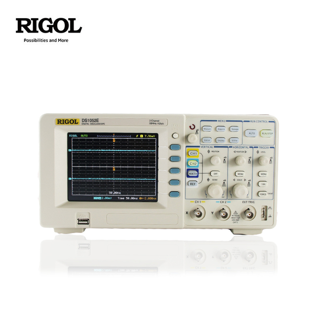 RIGOL DS1052E 50MHz Oscilloscope 2 ช่องอะนาล็อก 1GSa/S 1M หน่วยความจำ 5.6 TFT LCD