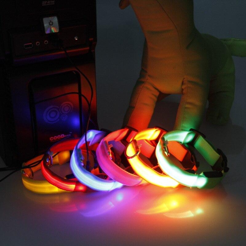 LED Shining Pet Charging Dog Neck Ring 2032 Charging Dog Neck Ring Shining Night Light Neck Ring Send USB Cable