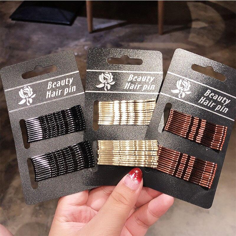 24PCS/Pack Women Girls Basic Black Gold 5 CM Barrettes Female Hair Clips Headbands Lady Good Quality Hairpins Hair Accessories