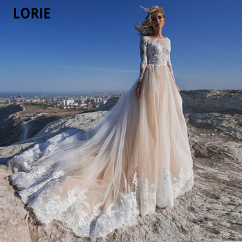 LORIE Elegant Lace Appliques Wedding Dresses for Bridal Long Sleeve Jewel Neck Champagne Tulle Beach Wedding Gown Boho 2020 lorie champagne tulle wedding dresses beach boho lace appliques bridal gown o neck illusion short sleeve vintage wedding gowns