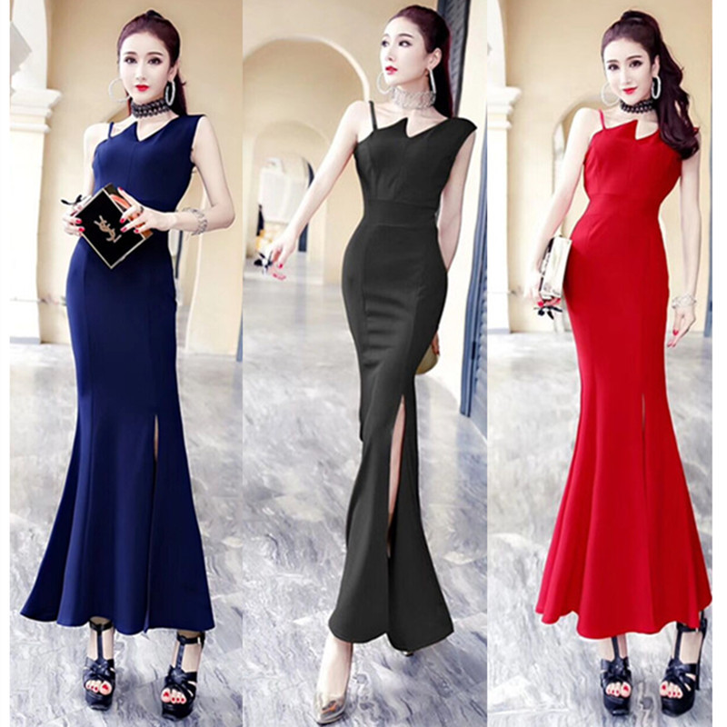 2019 Europe And America Nobility Elegant Sexy Long Fishtail Red Marriage Evening Dress Slim Dress 3119