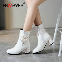 ENMAYER Shoes Woman Synthetic PU Slip-On Ankle Round Toe Square Heel  Winter Boots Women Short Plush for 34-43