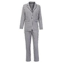 Black White Plaid Women Blazer Suit Set Long Sleeve Office L