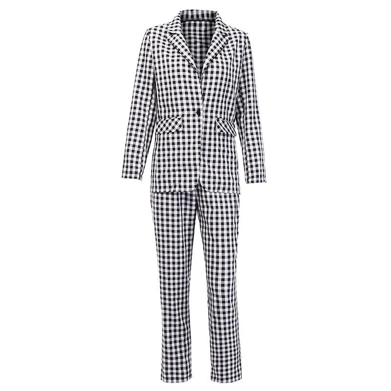 Preto branco xadrez feminino blazer terno conjunto de manga longa escritório senhoras elegante calça ternos feminino casual streetwear calças terno