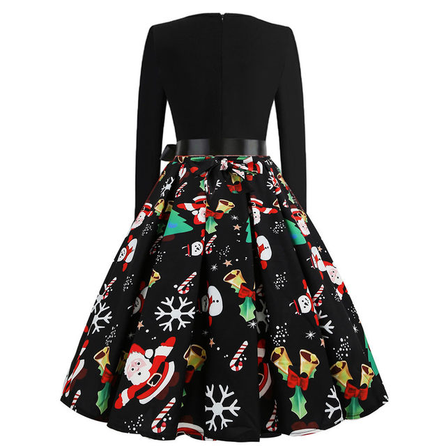 11 Color Vintage Dress Women Plus Size 3XL Sexy V-Neck Long Sleeve Christmas платье Bow Musical Note Print Flare Dress Wholesale 62