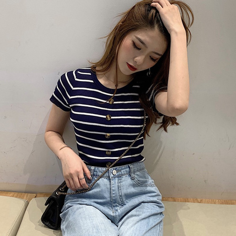 Womens Stripes T-Shirt Skinny O Collar Short Sleeve Slim Buttons Knitted Under Wear T Shirt Casual Top Tees