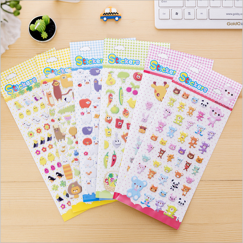 40packs/lot Children's Cartoon Cartoon Korean Cute 3D Three-dimensional Bubble Stickers Four Selection For Gifts