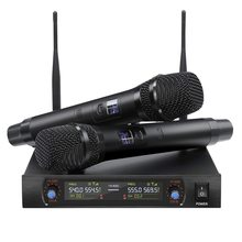 EKG J-08 Wireless Microphone Two Chanel Professional Karaoke Metal Frequency Adjustable Distance For Stage Show Party Meeting