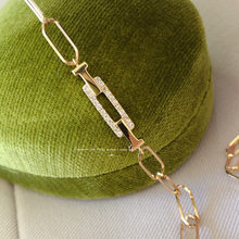 18K importation solide or jaune bijoux (AU750) femmes mode chine français minimalisme carré déométrique concepteur diamant Bracelet