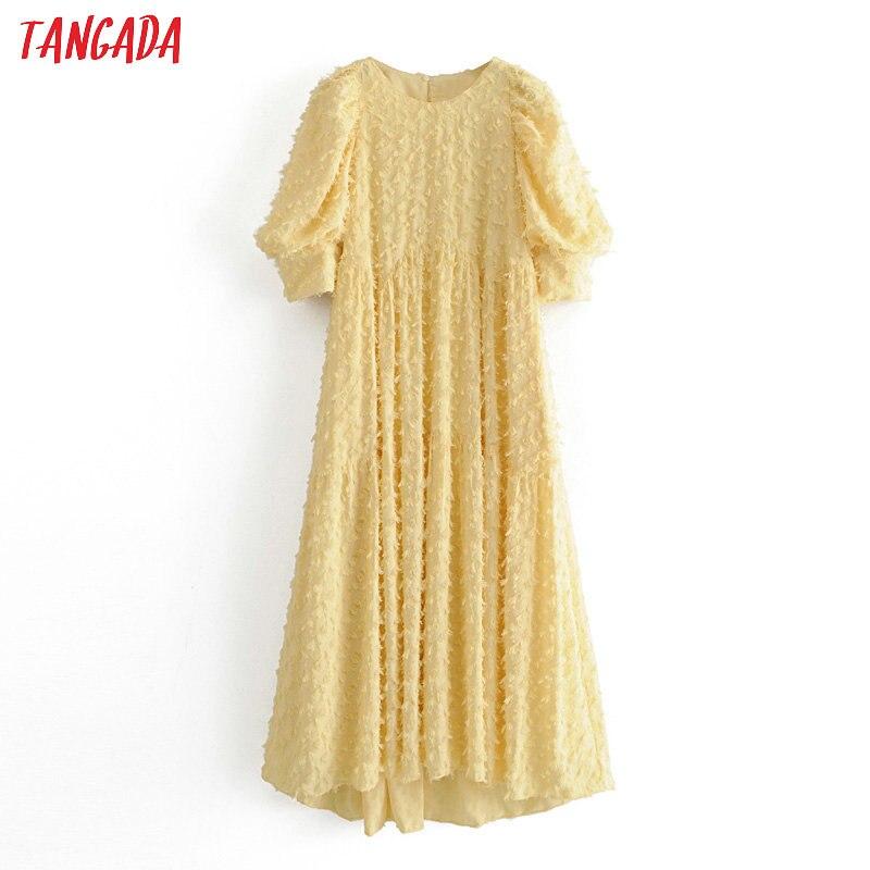 Tangada Fashion Women Solid Yellow Tassel Dress Summer Short Sleeve Ladies Vintage Midi Dress Vestidos 3H50
