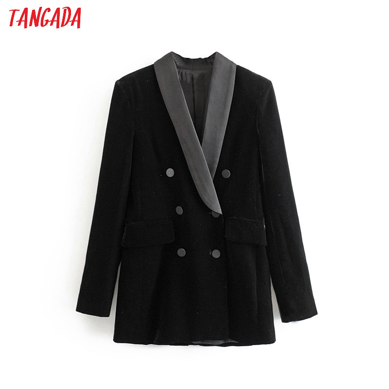 Tangada Women Winter Black Velvet Suit Jacket Long Sleeve Elegant Ladies Vintage Blazer Coat 3H301