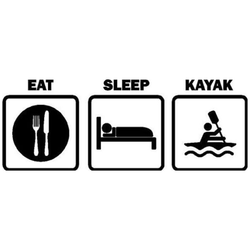 Car Stickers Fun Eating Sleep Canoe Stickers Car Motorcycle Decorative Decals Suitable for Various Models Black/white 16cm*6cm