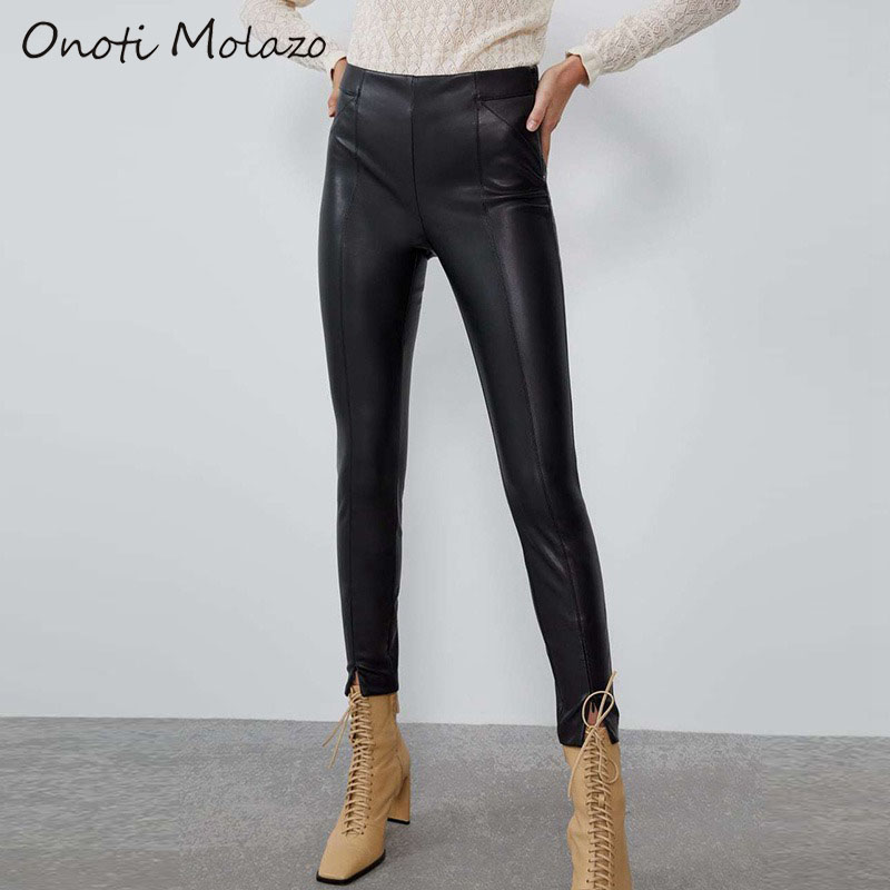 Onoti Molazo Pants Women PU Leather Casual Bottoms Chic Slim Fashion Ladies Vogue Long Pants Female 2019 Autumn Winter New