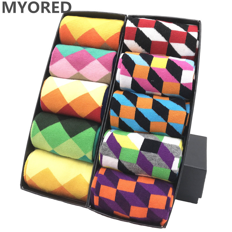 MYORED 10pairs/Lot Mens Sokken Calcetines De Hombre Multi-colorful Autumn Winter Long Funny High Quality Man Gift Socks