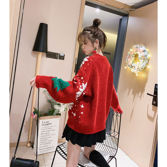 Vangull Red Christmas Snowflake Pullover Sweater Women Winter New Thicken Casual Soft Loose Round Neck Long Sleeves Knitted Top
