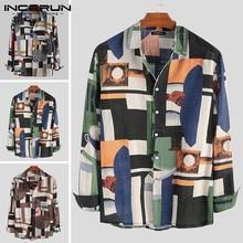 Shirt Vintage Blouse Vacation Streetwear Long-Sleeve Hawaiian Incerun-Printing Men High-Quality