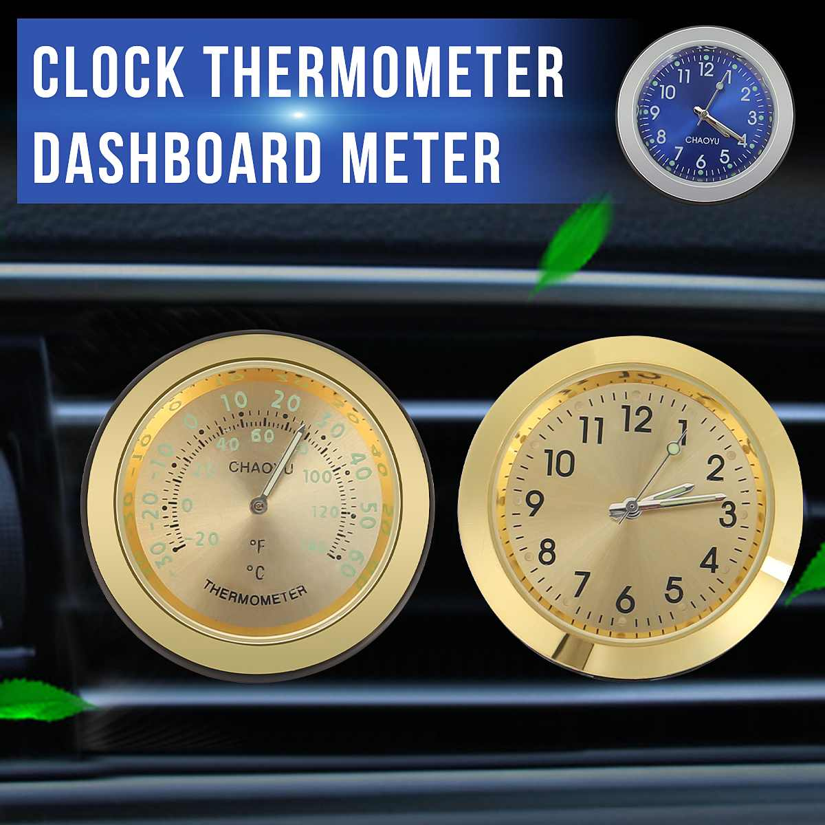 KROAK <font><b>Auto</b></font> Elektronische Uhr Conditioner Air Outlet <font><b>Thermometer</b></font> Dashboard Hygrometer Meter Aromatherapie <font><b>Auto</b></font> Leucht Quarz Uhr image