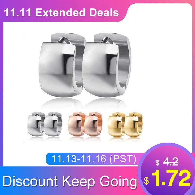 Effie Queen 316L Stainless Steel Ear Stud Earrings Fashion Women Men's 7mm Wide Punk Style Small Earrings Jewelry Wholesale IE18