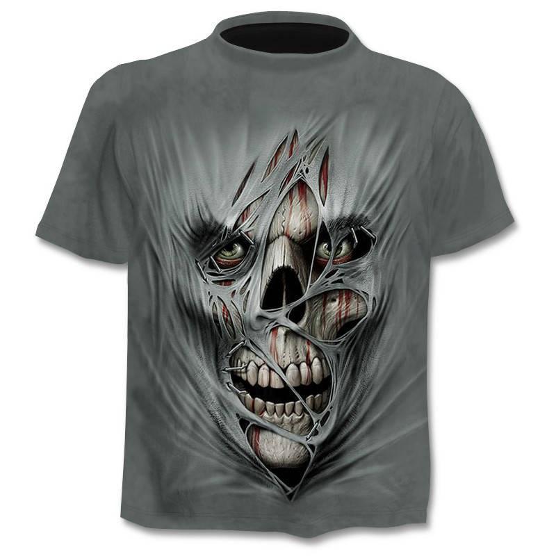Мужская и женская футболка с 3D принтом, футболка в стиле панк, Готическая футболка с черепом, Азиатский Размер 6XL, новинка 2019|Футболки|   | АлиЭкспресс - Популярная одежда для мужчин с Али