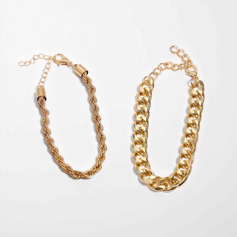 Ensemble de Bracelets de chaîne épaisse épaisse Boho personnalisé pour les femmes Accesorios Mujer serpent gothique meilleurs amis Bracelet Bracelet bijoux