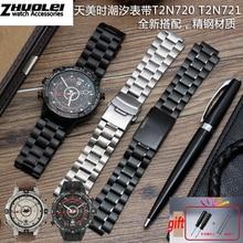 Edelstahl armband für männer der TIMEX T2N720 T2N721 TW2R55500 T2N721 armband 24*16mm lug ende silber schwarz armband