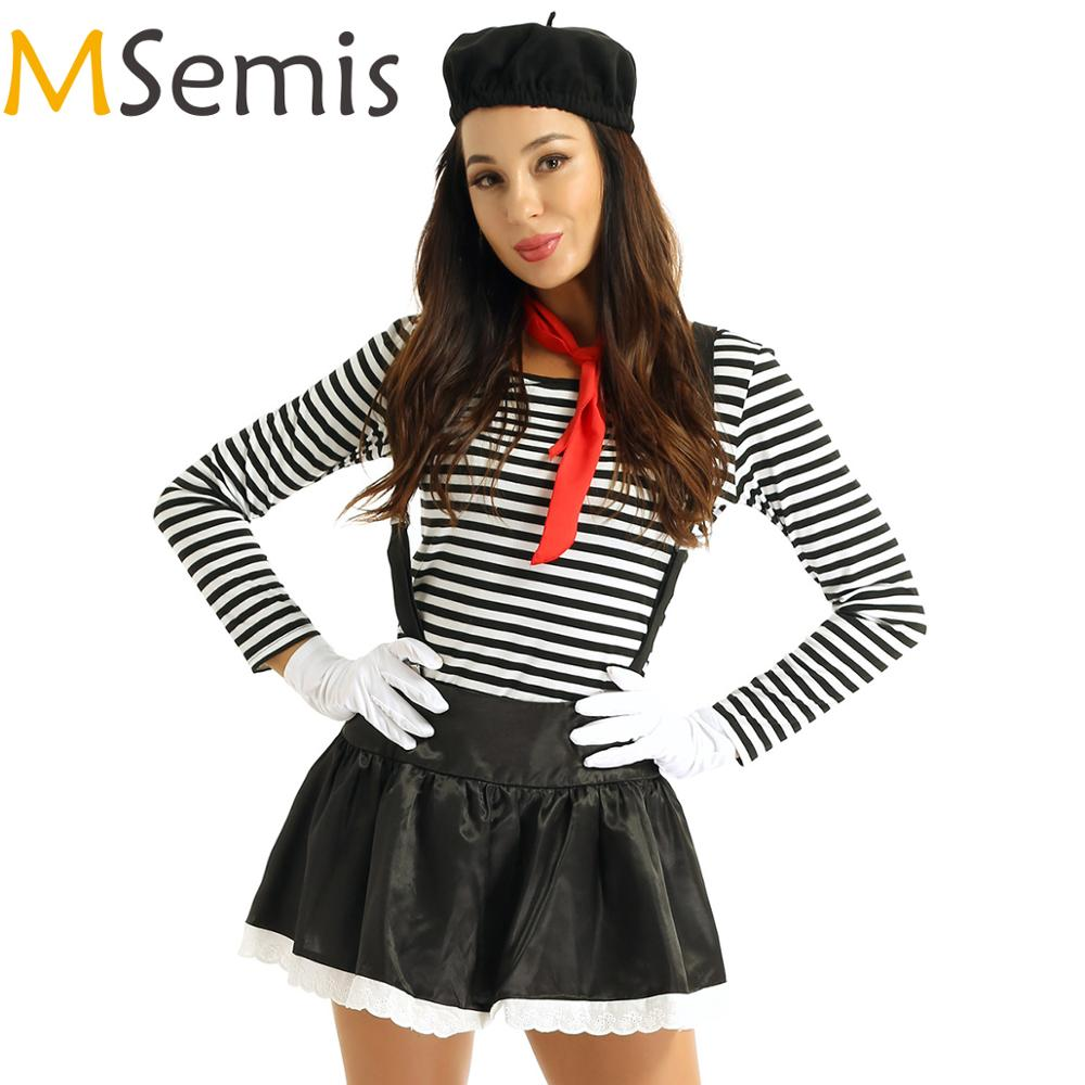 MSemis Women Adults Cosplay Clothing Mime Costume Artist Clown Circus Fancy Dress Outfit Beret Red Scarf Suspender And Gloves