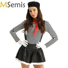 Женский костюм для косплея MSemis, костюм для пантомимы, художника, клоуна, цирка, красный шарф, подтяжки и перчатки