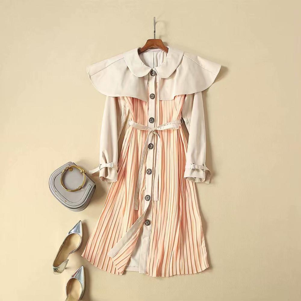 GoodliShowsi automne doux femmes robe plissée cape Design col claudine manches longues robe trapèze