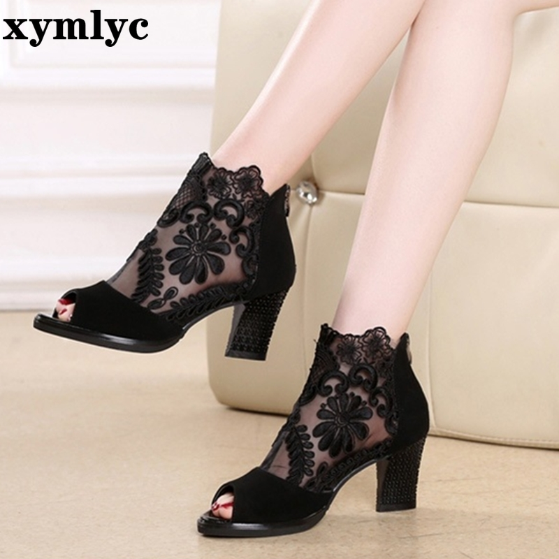Mesh Peep Toe Sandals Summer Sexy Heels Single Shoes Women Shoes In Europe And 2020 Spring And Summer Gauze