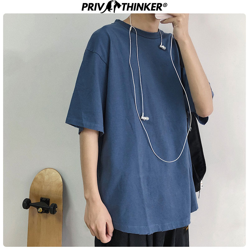 Privathinker Men Harajuku Solid Summer Tshirt Tee 2020 Streetwear Oversized Summer T-Shirt Mens Casual Korean Loose Male T-shirt