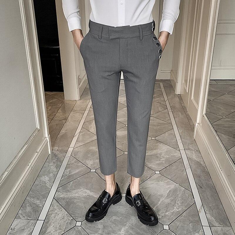 Korean Spring Dress Pants Men 2020 New Slim Fit Formal Pants For Men Streetwear Ankle Length Office Trousers Men Black/Gray 34