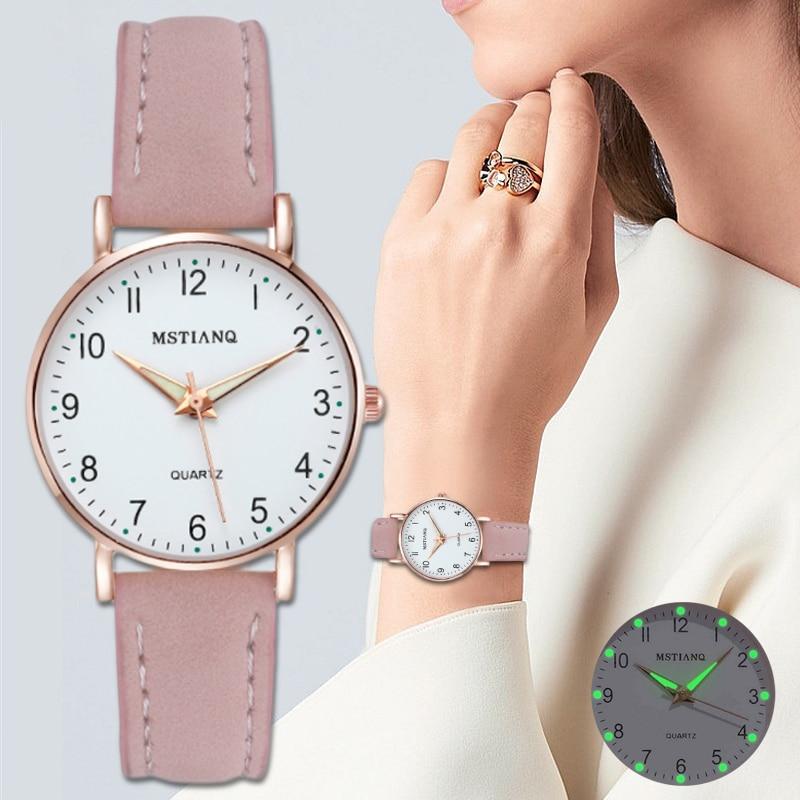 2020 新女性のファッションカジュアルな革ベルト腕時計シンプルなレディース腕時計時計ドレス腕時計リロイmujer