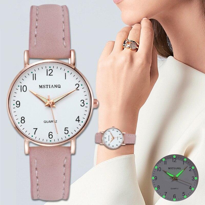 ¡Novedad de 2020! Reloj de pulsera para mujer, correa de cuero informal a la moda, caja de Reloj de cuarzo para mujer, Reloj de pulsera para mujer