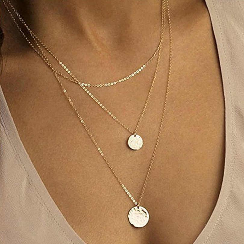 Collier pendentif en coquille Boho pour femmes, longue chaîne, ronde, multicouches, ras du cou, 2019 bijoux de mariage