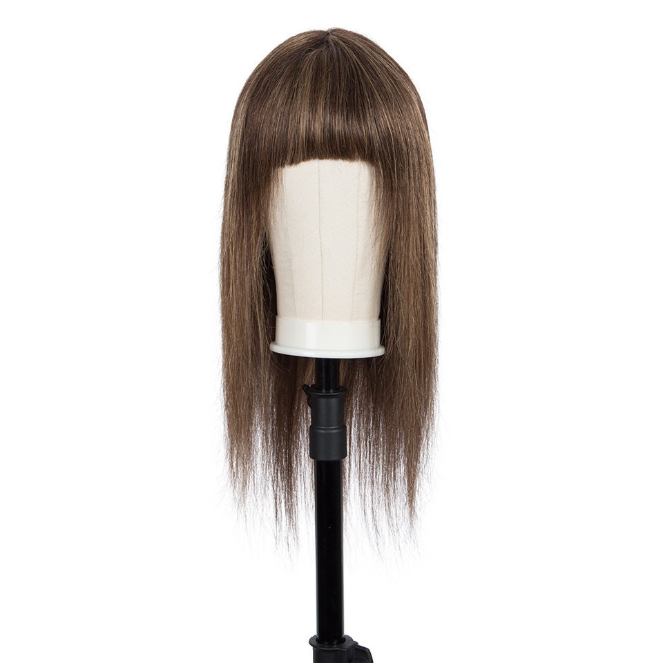 Remy Forte Human Hair Wigs With Bangs 30 Inch Natural Brazilian Hair Wigs For Women Straight BoB Wigs Blonde Ombre Short Wigs