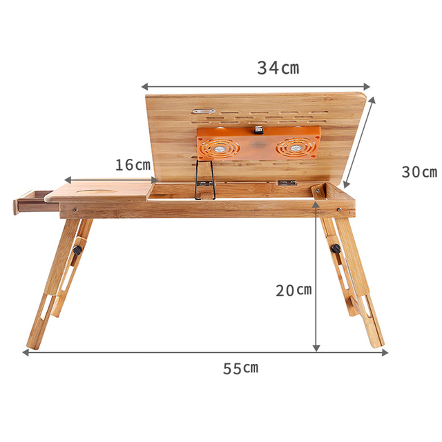 ZYUTTGY Portable Folding Bamboo Laptop Table Sofa Bed Office Laptop Stand Desk with Fan Bed Table for Computer Notebook Books