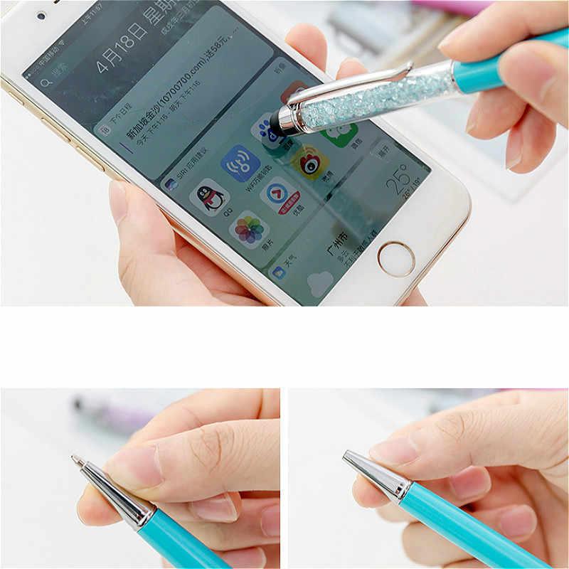 Yüksek kalite 1 adet kristal tükenmez kalem çok fonksiyonlu dokunmatik jel kalem Roller tükenmez kalem kırtasiye tükenmez 0.5mm damla nakliye