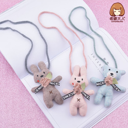 His Wife New Style Handmade Fabric Bunny Bear Small Animal Children Cute Necklace CHILDREN'S Clothing Store Accessories Accessor