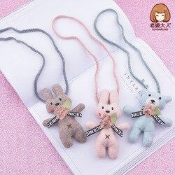 Sua esposa novo estilo feito à mão tecido coelho urso pequeno animal crianças bonito colar infantil loja de roupas acessórios accessor
