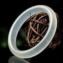 Китайский натуральный белый круглый нефритовый браслет ручной