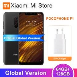Глобальная версия Xiaomi POCOPHONE F1 6GB 64 GB/6 GB 128GB Смартфон Snapdragon 845 20MP фронтальная камера LiquidCool 6,18 ''полный экран