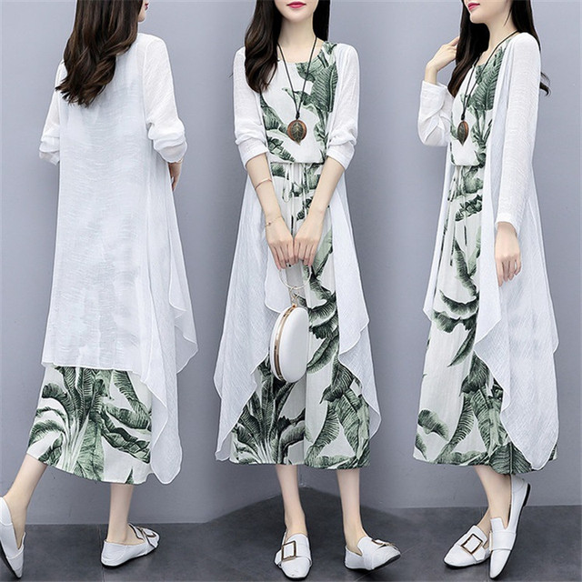 Cotton And Linen Dress Suit Plus Size 2020 Spring Summer Loose National Style Printed Women's Elegant Dress Two-piece Set W2050 4